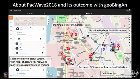 About PacWave2018 and its outcome with geoBingAn for Evacuation Route