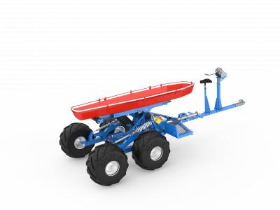 Self leveling Rescue vehicle with a stretcher to be used in rough terrain