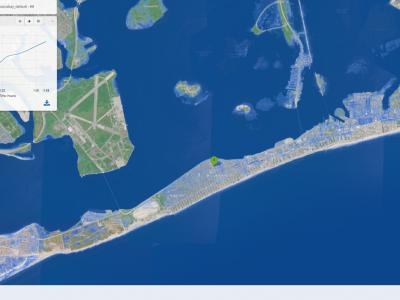 Flood modelling, sea flooding in Jamaica Bay area USA