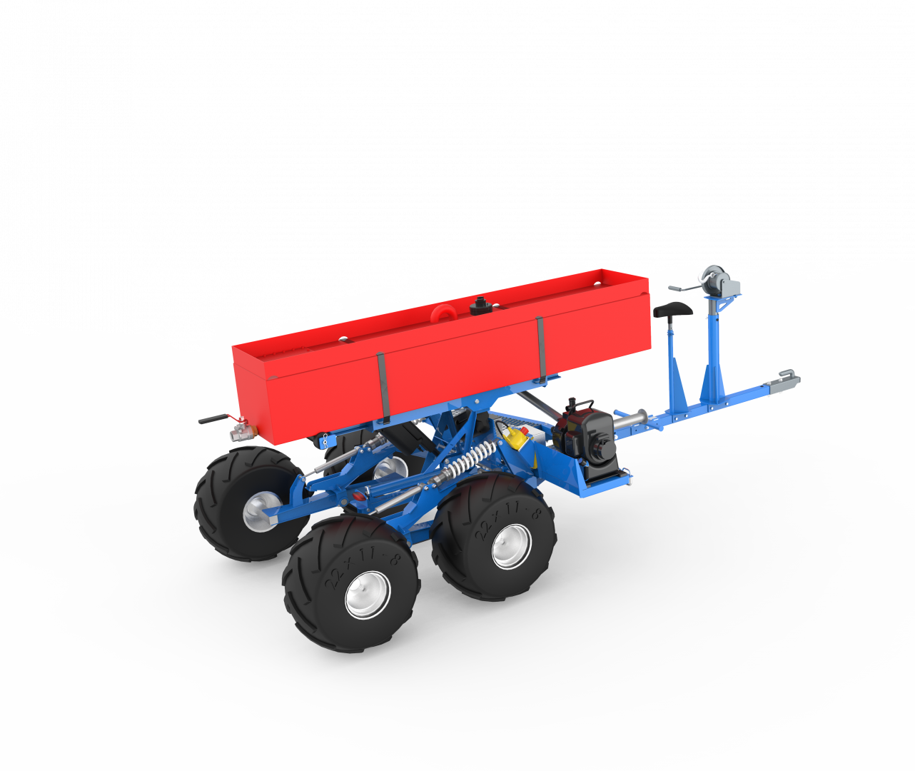 Self leveling rescue vehicle With 200 L water tank to put down small fires in rough terrain