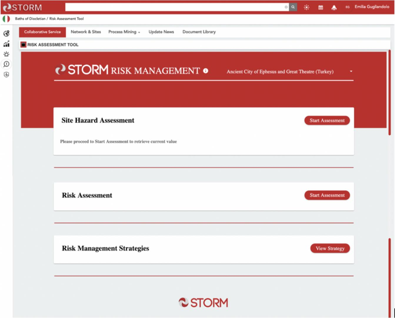 The Risk Management Dashboard allows to perform Site Hazard Assessment, Risk Assessment and display the Risk Management Strategies