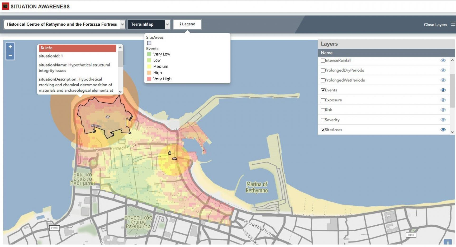 Situation awareness displayed through layers on a map, including Events, Exposure, Risk, Severity, Site Areas, etc.