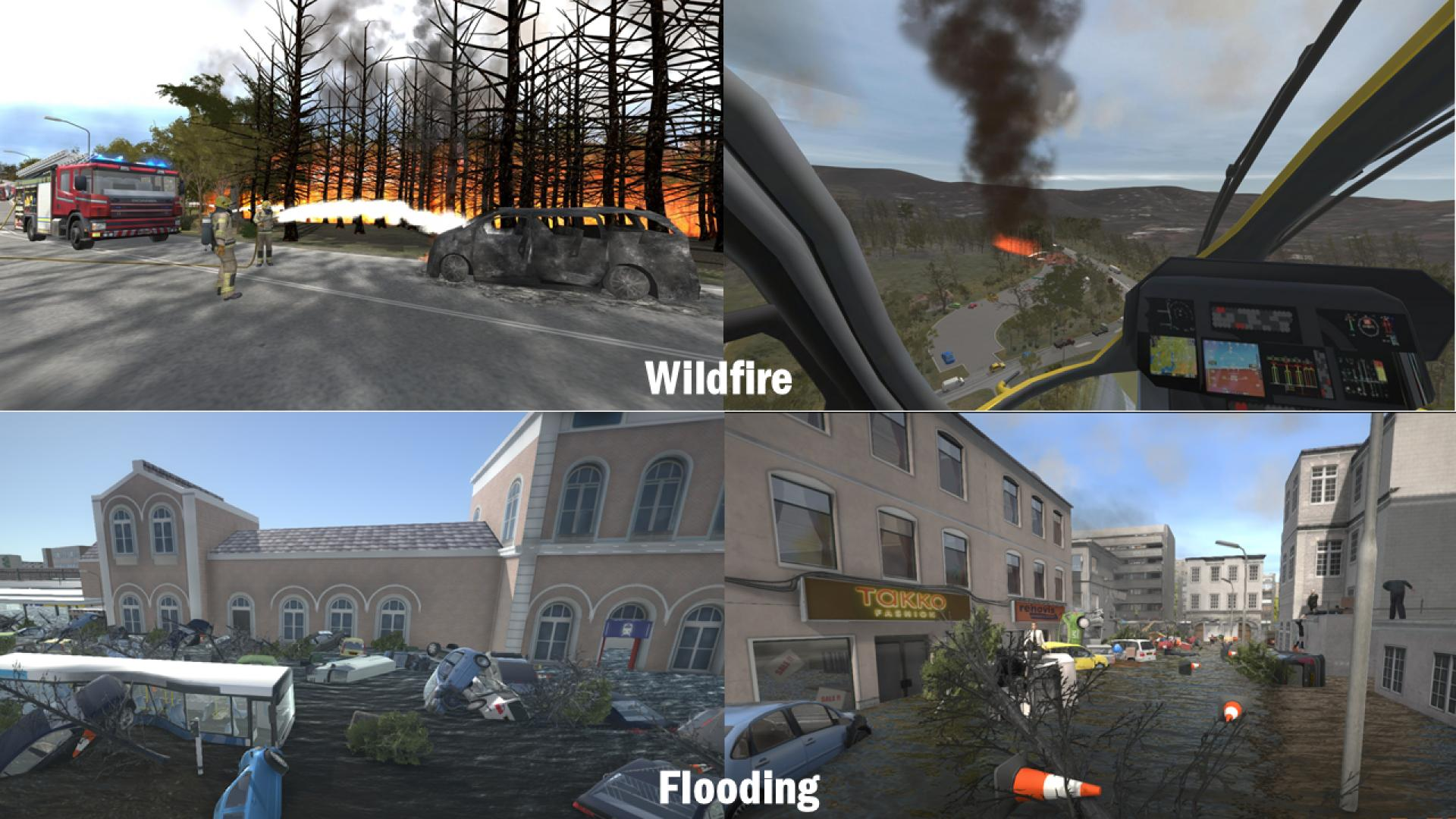 Screenshots of natural disaster scenes