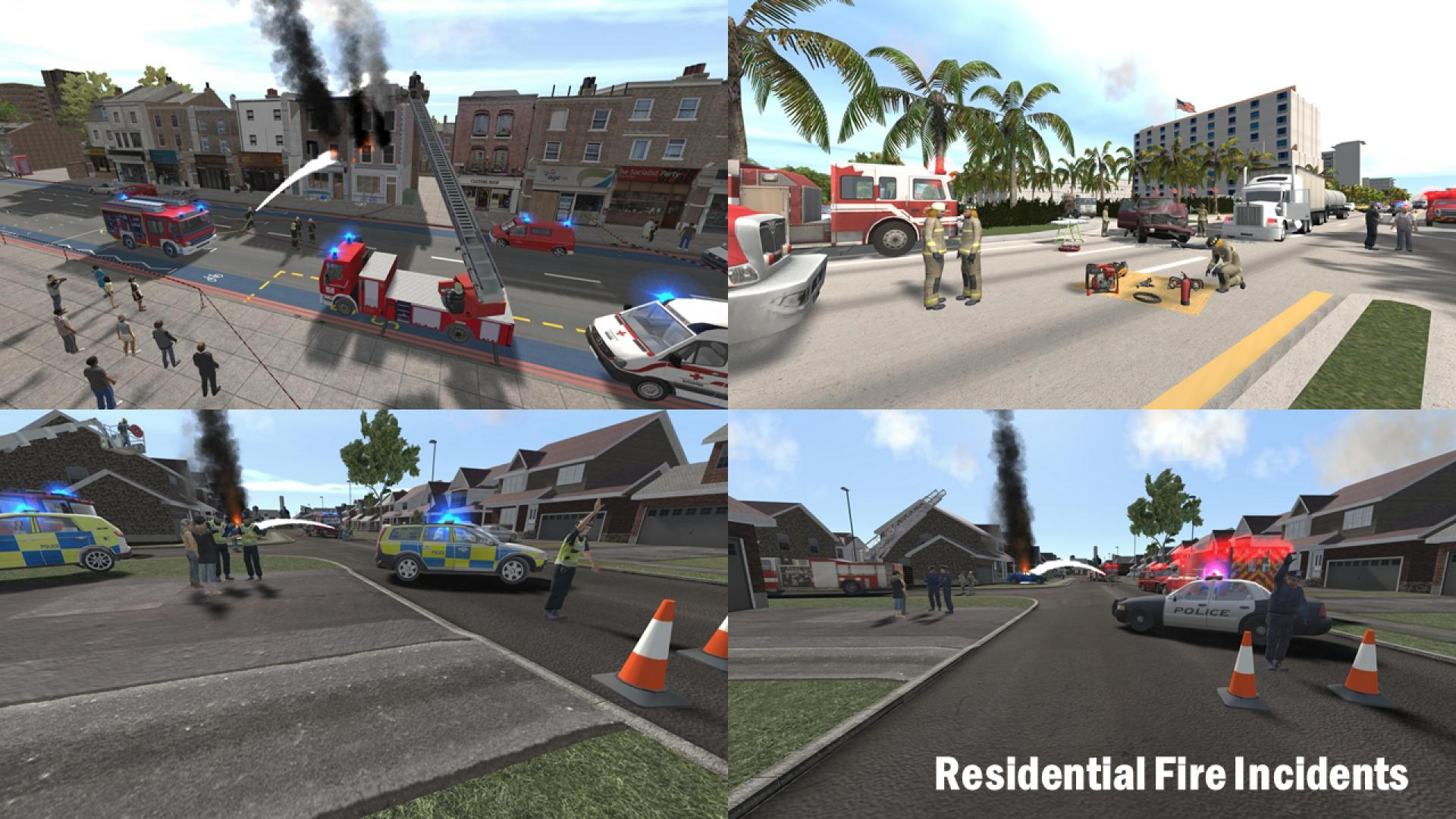 Screenshots of residential fires