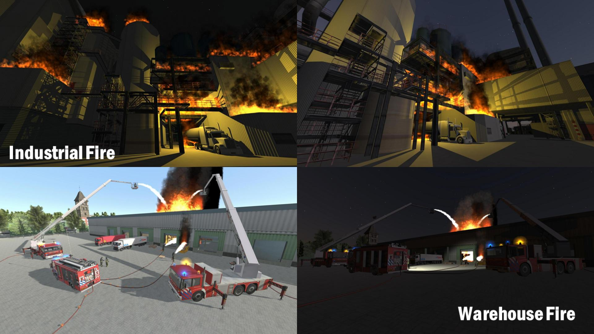 Screenshots of industrial fires