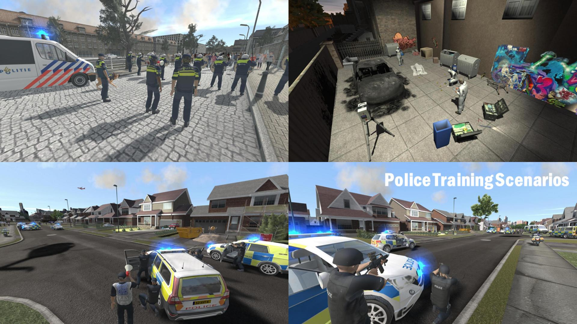 Screenshots of police training scenes